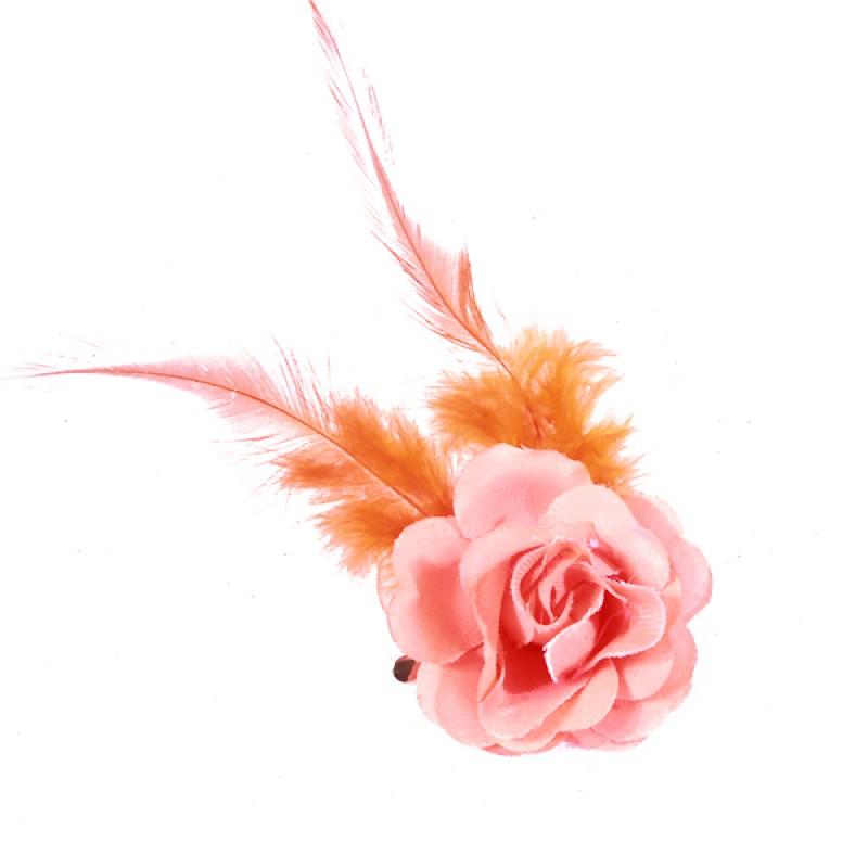 Pince Mariage Fleur Tissu Petit Rose Plumes Rose Corail