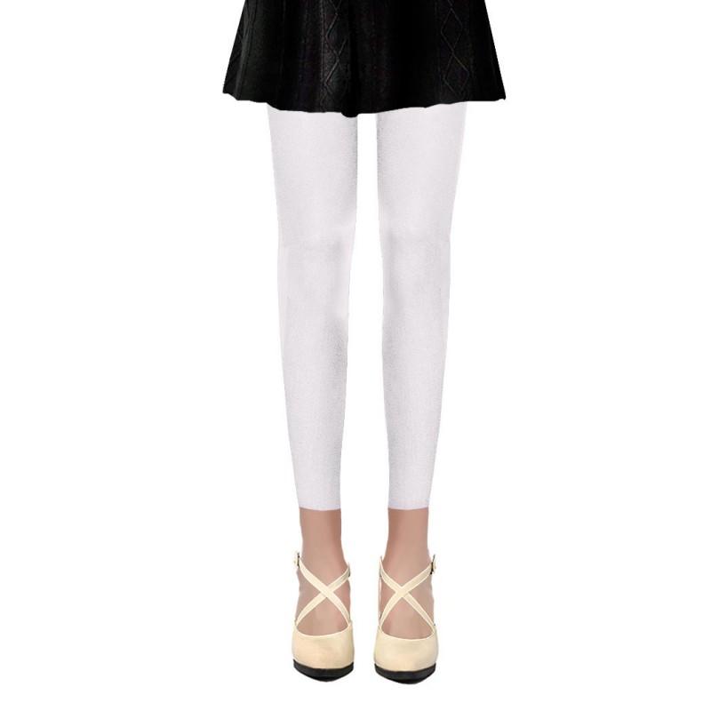Collants Voile Opaques 50 Deniers Sans Pied Leggings Blanc