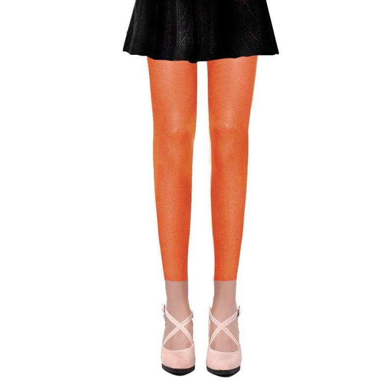Collants Voile Opaques 50 Deniers Sans Pied Leggings Orange
