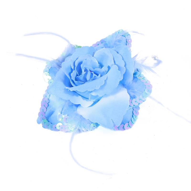 Broche Elastique Mariage Fleur Tissu Scintillante Paillette Bleu
