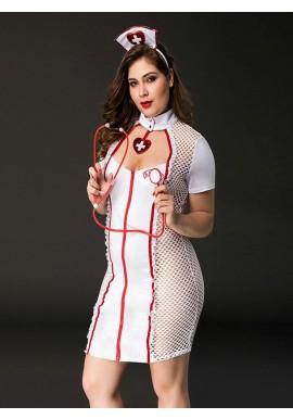 Déguisement Tenue Infirmière Sexy Femme 4 pcs Plus Size