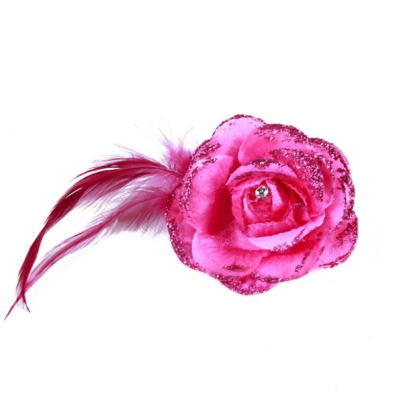 Pince Broche Mariage Fleur Tissu Scintillant Strass Rose Fushia