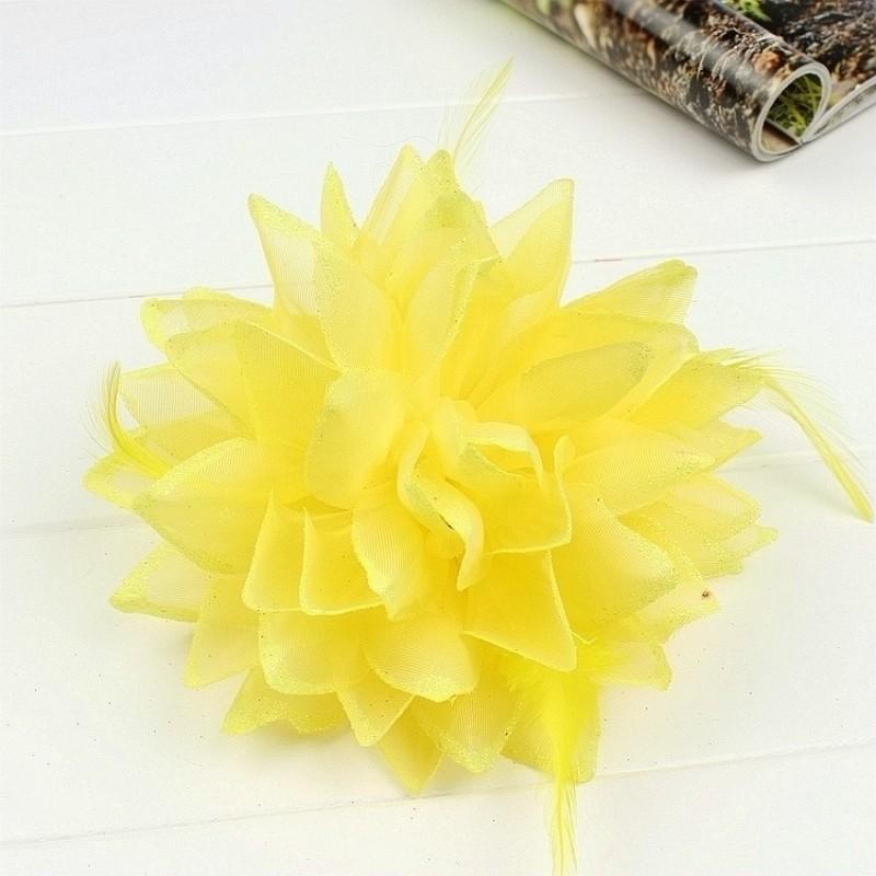 Pince Broche Elastique Mariage Fleur Tulle et Dentelle Scintillants Jaune