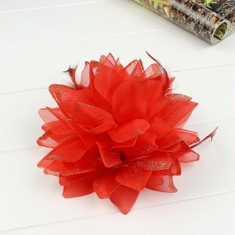 Pince Broche Elastique Mariage Fleur Tulle et Dentelle Scintillants Rouge