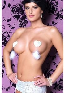 Cache Tétons Burlesques Coeur Paillettes Plumes Blanc