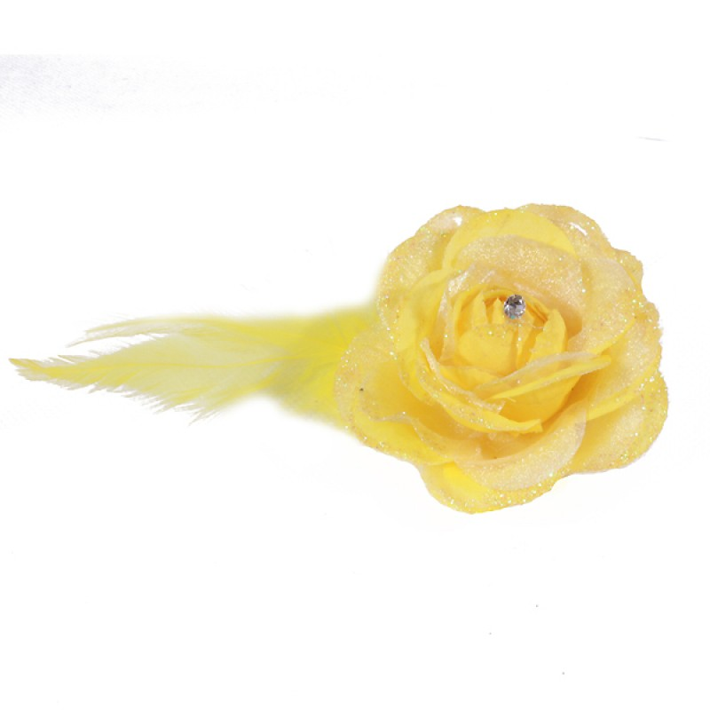 Pince Broche Mariage Fleur Tissu Scintillant Strass Jaune