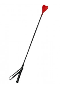 Cravache Coeur Rouge en Cuir 64cm