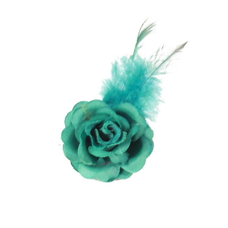 Pince Mariage Fleur Tissu Petit Rose Plumes bleu turquoise