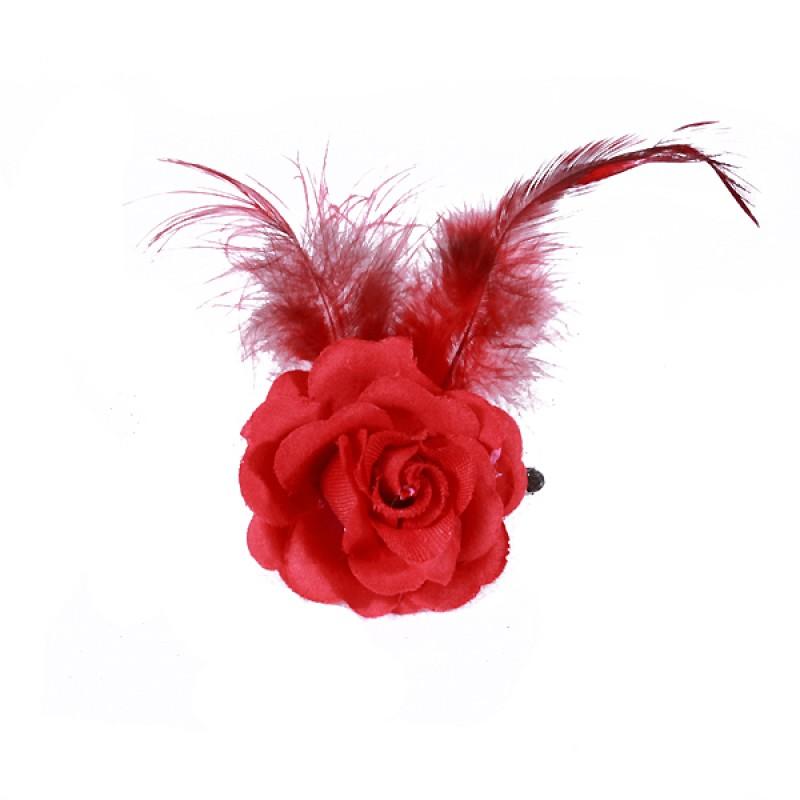 Pince Mariage Fleur Tissu Petit Rose Plumes Rouge