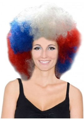 Perruque Big Afro Tricolore Equipe France