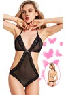 Body String Voile Noir Bordure Dentelle Strass