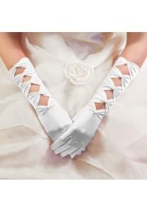 Gants Longs Mariage en Satin à Perles Noeuds (Blanc, Ivoire, Rouge, Noir, Bordeaux)