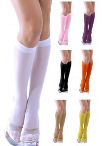 Chaussettes mi bas Ecoliere (Noir, Blanc, Rose, Jaune, Orange, Violet ,Beige, Bleu, Rouge)