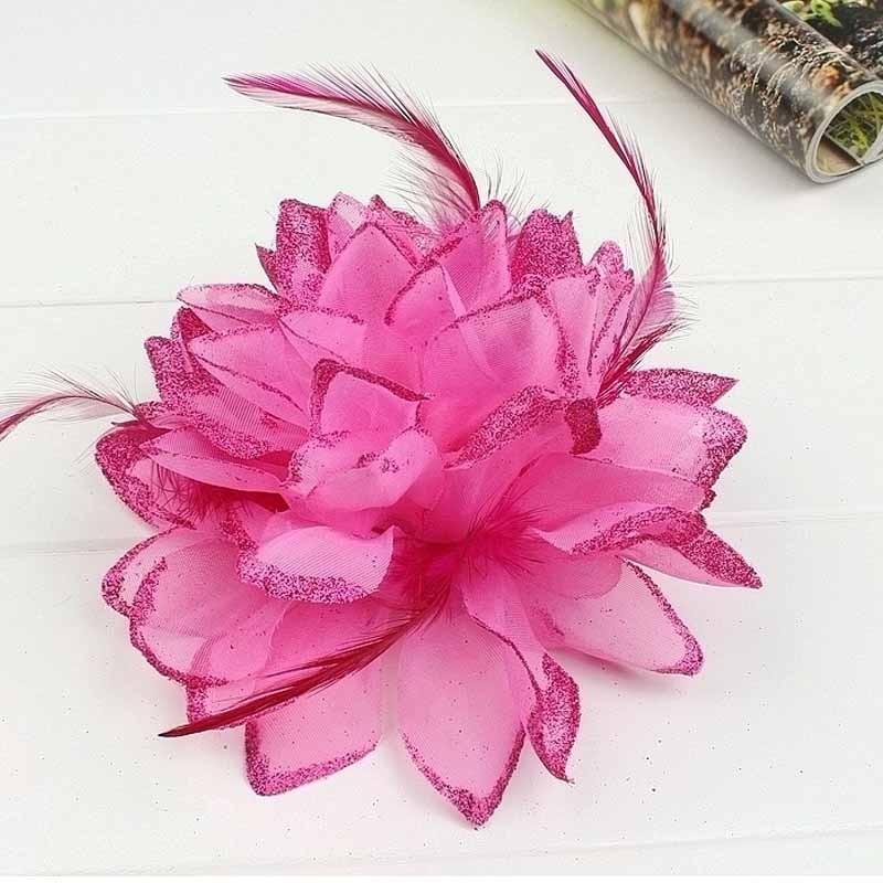 Pince Broche Elastique Mariage Fleur Tulle et Dentelle Scintillants Rose Fushia