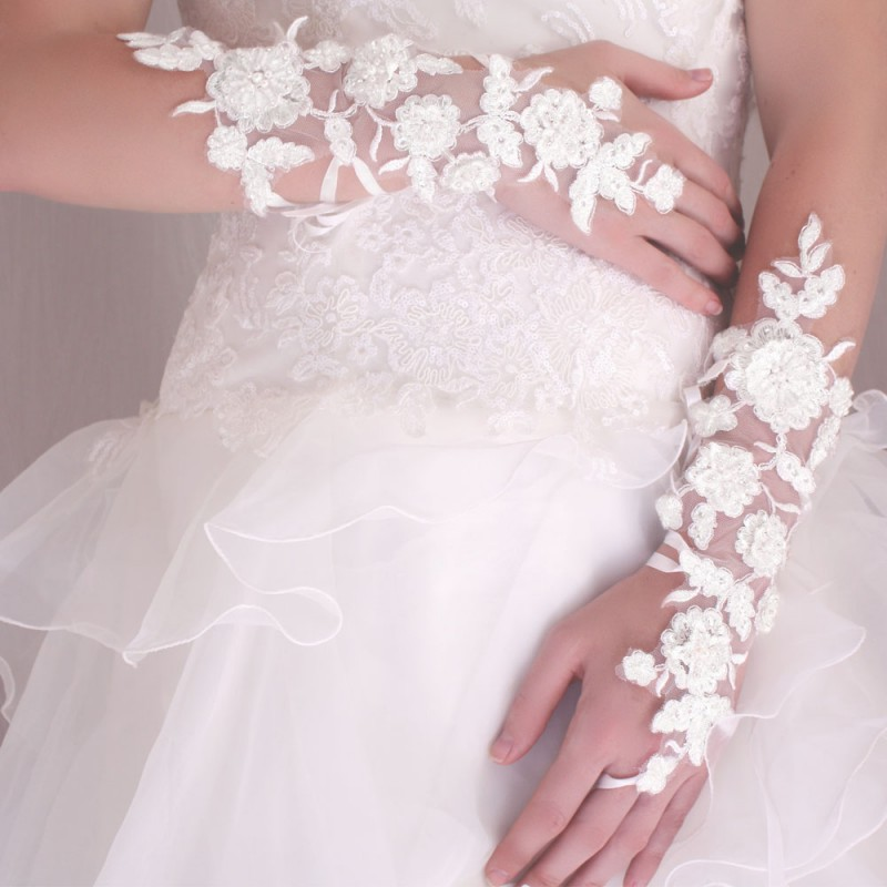 Gants Mitaines Mariage Longs A Lacets Broderies Perles Blanc