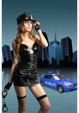 Tenue Police Woman Vinyl PVC Fancy Dress