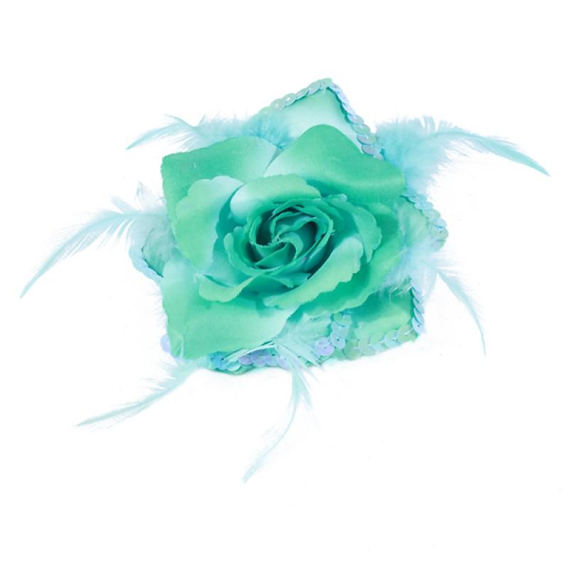 Broche Elastique Mariage Fleur Tissu Scintillante Paillette Bleu Turquoise