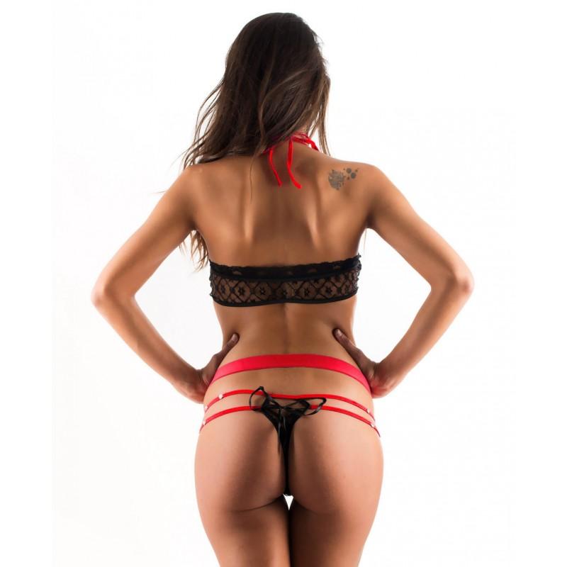 Body Dentelle Noir Strass Lacet Rouge