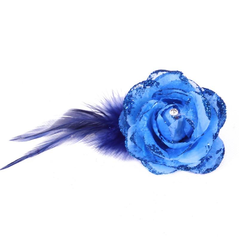 Pince Broche Mariage Fleur Tissu Scintillant Strass Bleu Marine