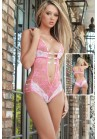 Body Dentelle Coeur Strass Erotique Bicolore Rose / Blanc