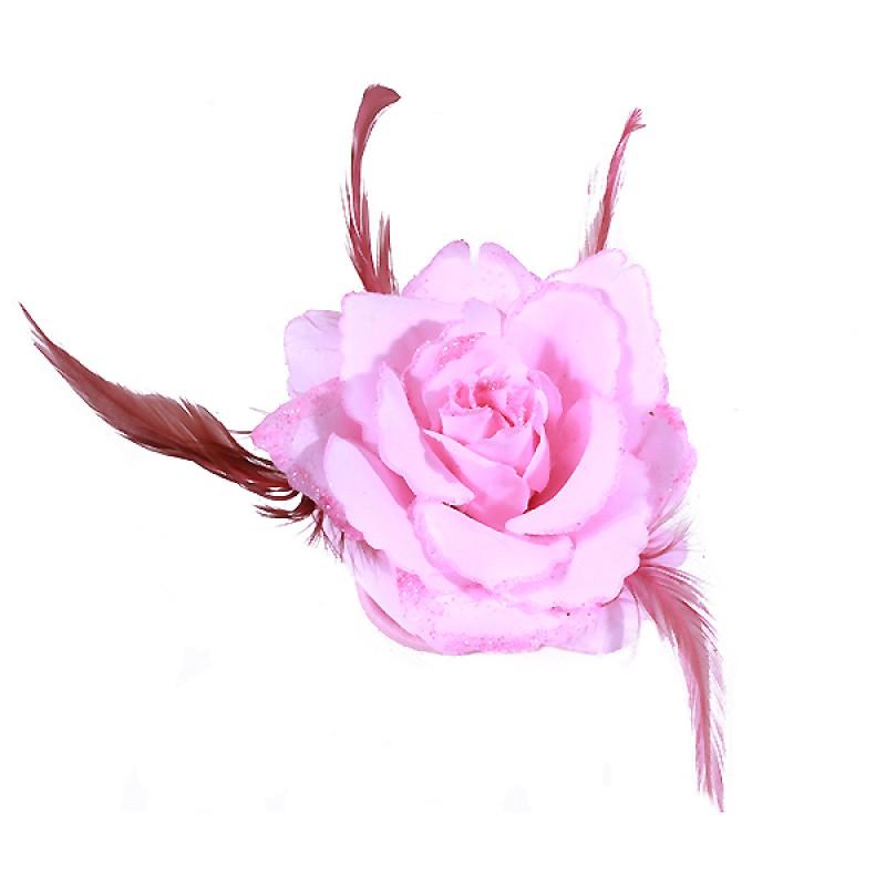 Broche Pince Elastique Mariage Fleur Tissu Scintillants Rose