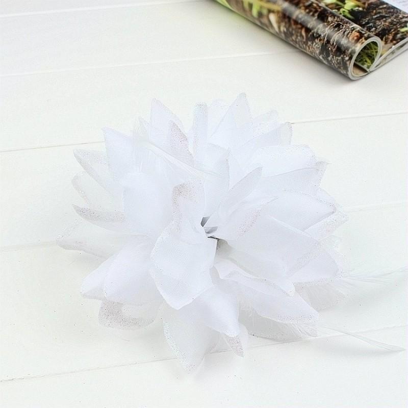 Pince Broche Elastique Mariage Fleur Tulle et Dentelle Scintillants Blanc