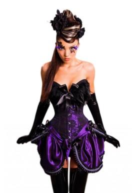 Corset Burlesque Noir et Violet en Satin