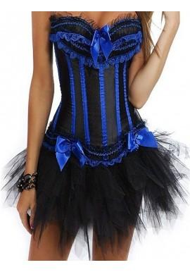 Corset Noir Burlesque Cabaret A Baleines Bleu