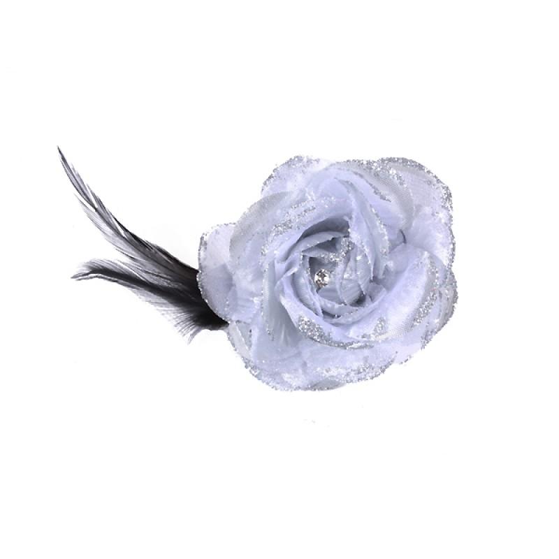 Pince Broche Mariage Fleur Tissu Scintillant Strass Gris