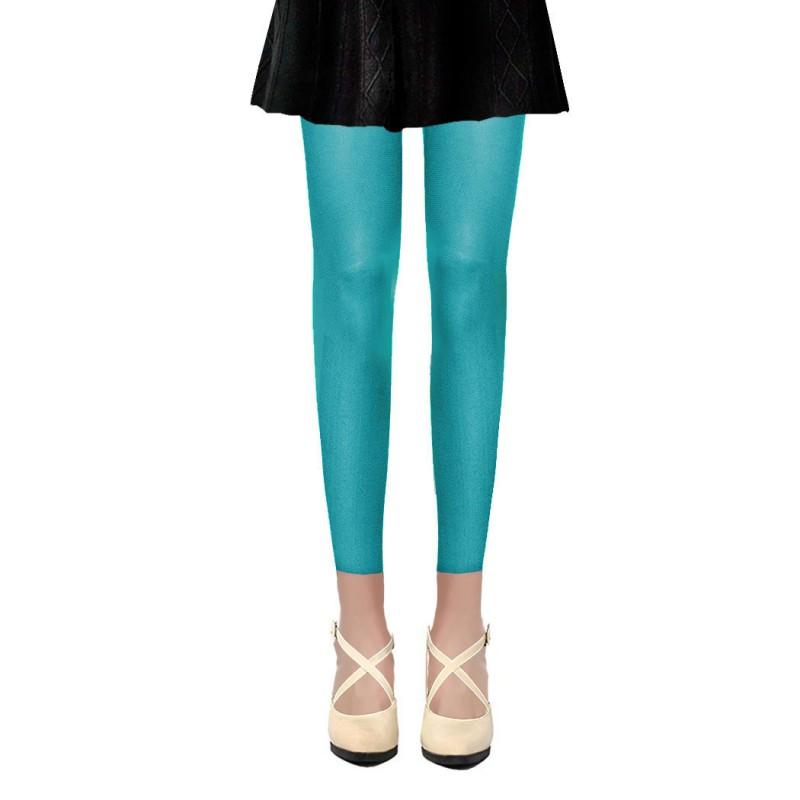 Collants Voile Opaques 50 Deniers Sans Pied Leggings Bleu Turquoise