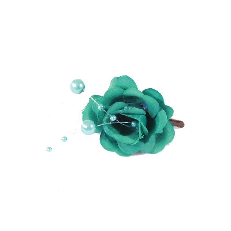 Pince Mariage Fleur Tissu Perlés Bleu Turquoise