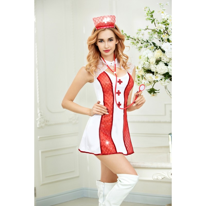 Tenue Robe Infirmiere Stethoscope Nurse Scintillant