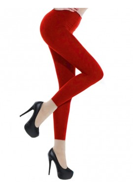 Collants Voile Opaques 90 Deniers Sans Pied Leggings Rouge