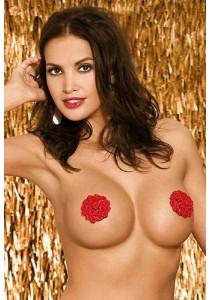 Cache Tétons Burlesques à Fleurs Rouge