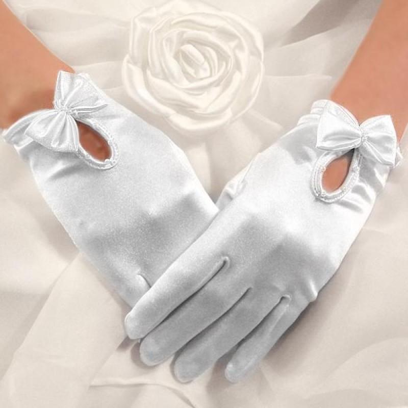 Gants Satin Noeuds Perles Courts Blanc