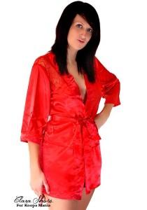 Kimono peignoir Satin Dos Dentelle Rouge