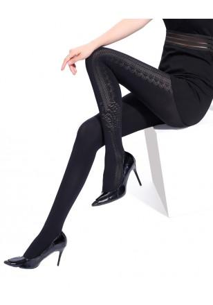 collant voile noir opaque motif dentelle jacquard pantyhose. Black Bedroom Furniture Sets. Home Design Ideas