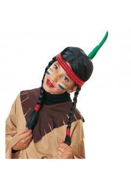 Widmann Perruque Indienne Indien Noir Carnaval