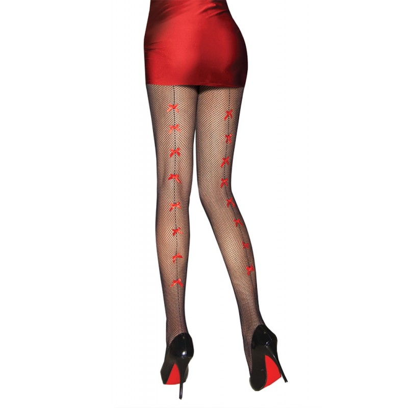 Collant Resille effet Couture Noeuds Rouge