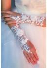 Gants Mitaines Blancs Perles Grosse Fleur Broderie