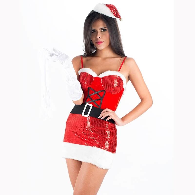 Tenue Mère Noel Santa Sequins Sexy