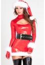 Costume Mere Noel Brillant Faux Cuir