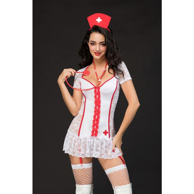 Tenue Déguisement Infirmière Sexy Dentelle 5pcs