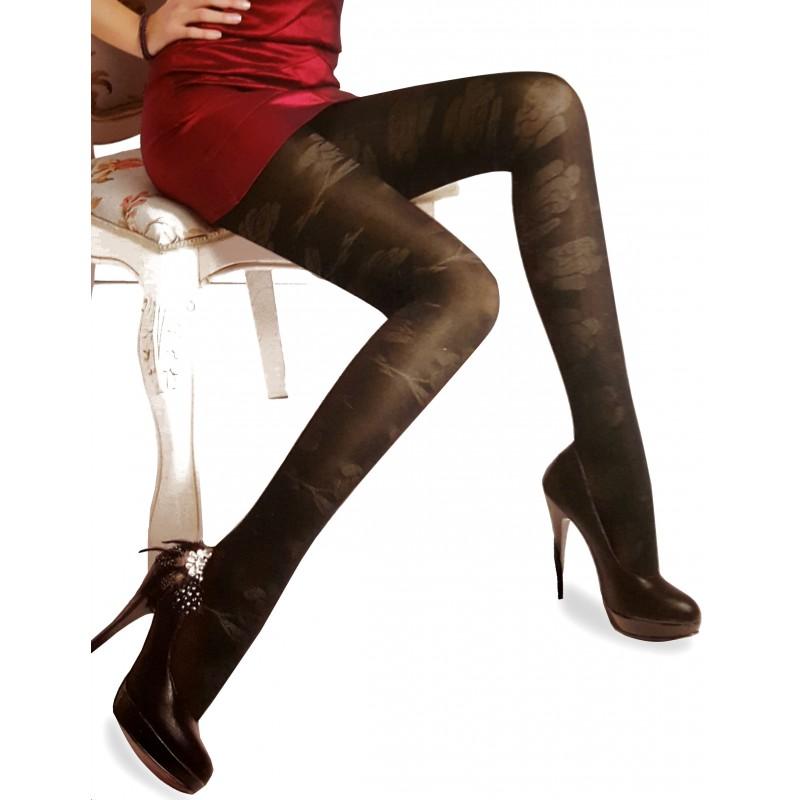 collant noir voile opaque fleur rose jacquard pantyhose. Black Bedroom Furniture Sets. Home Design Ideas