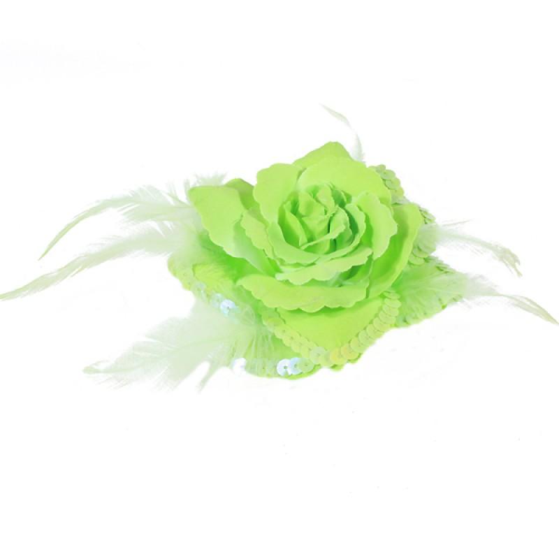 Broche Elastique Mariage Fleur Tissu Scintillante Paillette Vert Pomme