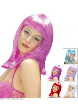 Widmann Perruque Patsy Mi long (Blanc, Violet, Noir, Rousse, Blond, Rouge)
