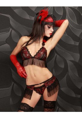 Ensemble String Dentelle Floral Rouge Kaourintina