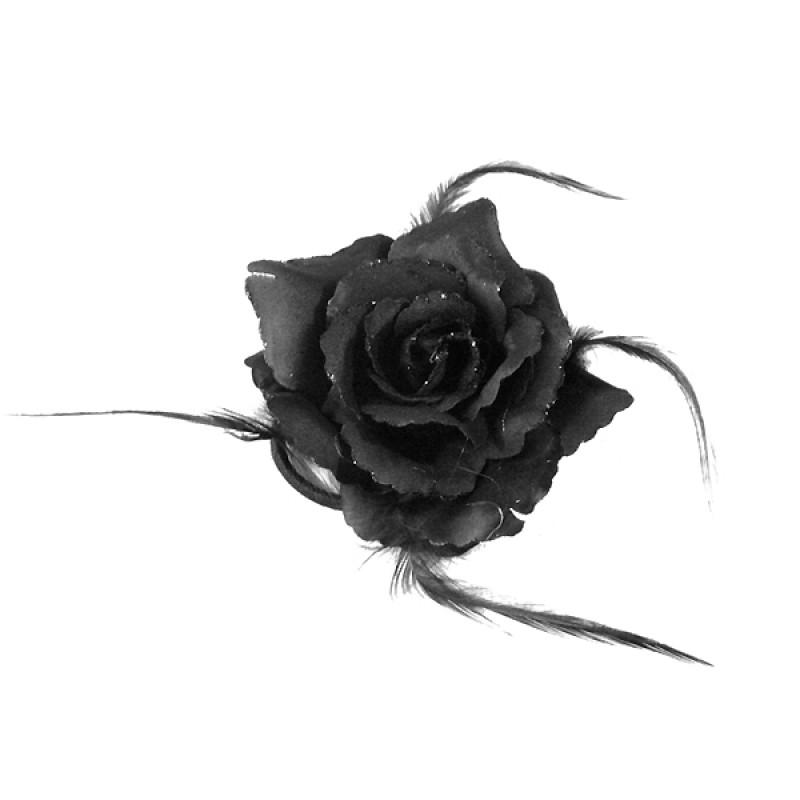 Broche Pince Elastique Mariage Fleur Tissu Scintillants Noir