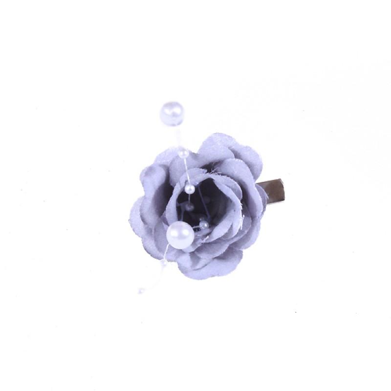 Pince Mariage Fleur Tissu Perlés Gris