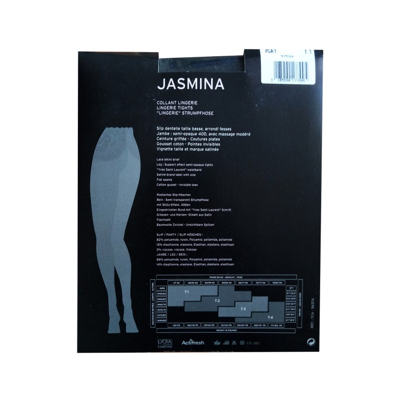Collant Voile Noir JASMINA Yves Saint Laurent Culotte Dentelle
